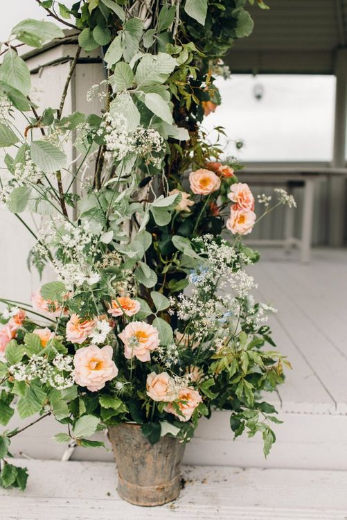 Wedding flower arrangement at Yorkshire Wedding Barn