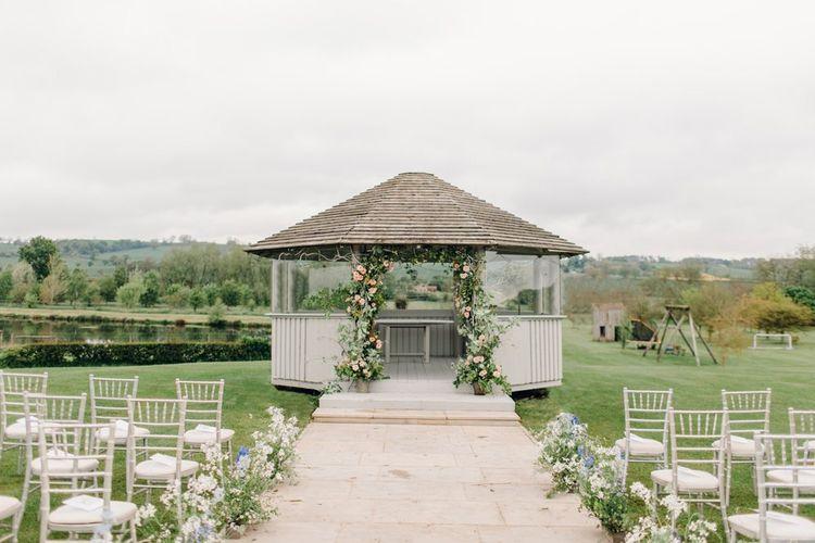 Outdoor wedding ceremony at Yorkshire Wedding Barn