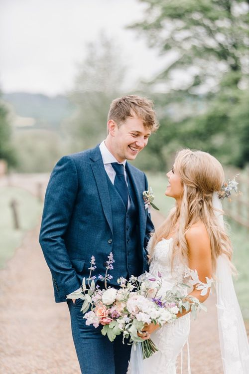 Bride and groom portrait by Jessica Reeve Photography at Yorkshire Wedding Barn