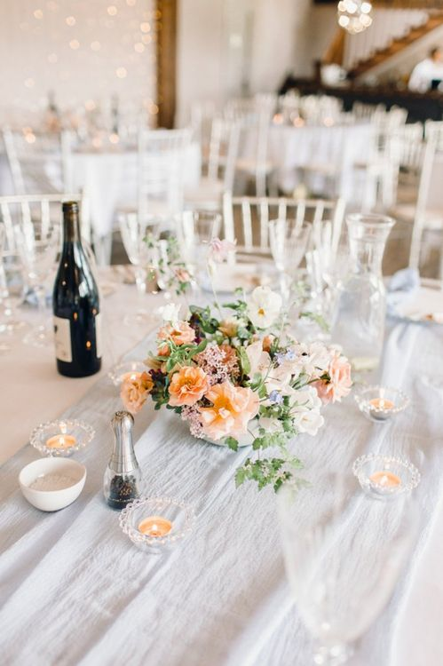 Low floral centrepiece at Yorkshire Wedding Barn