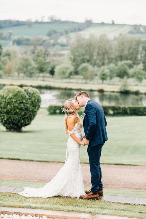 Romantic bride and groom portrait at Yorkshire Wedding Barn