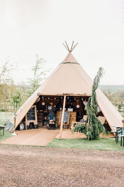 Rustic tipi at Yorkshire Wedding Barn