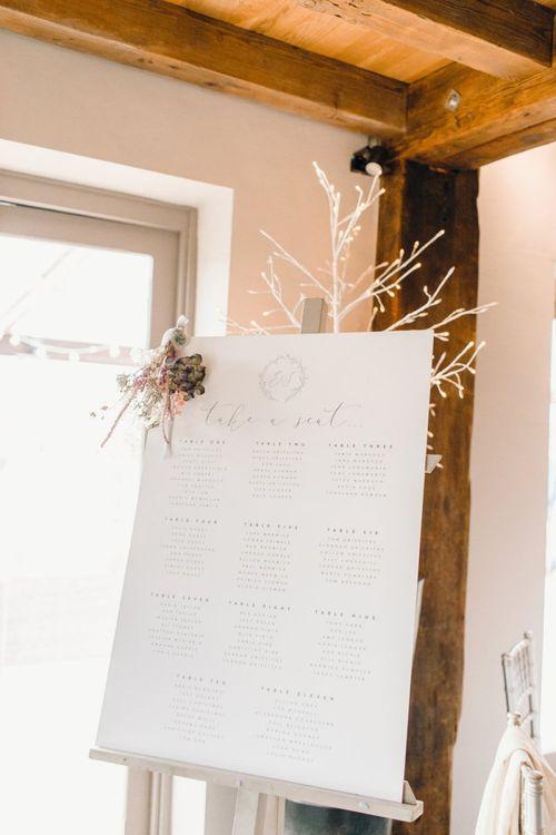 Minimalist table plan design at Yorkshire Wedding Barn