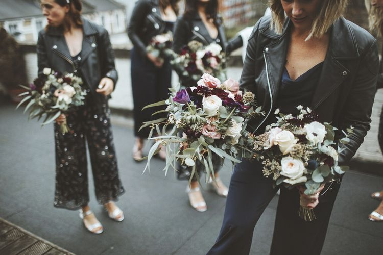 Bridesmaids in Jumpsuits and Leather Jackets
