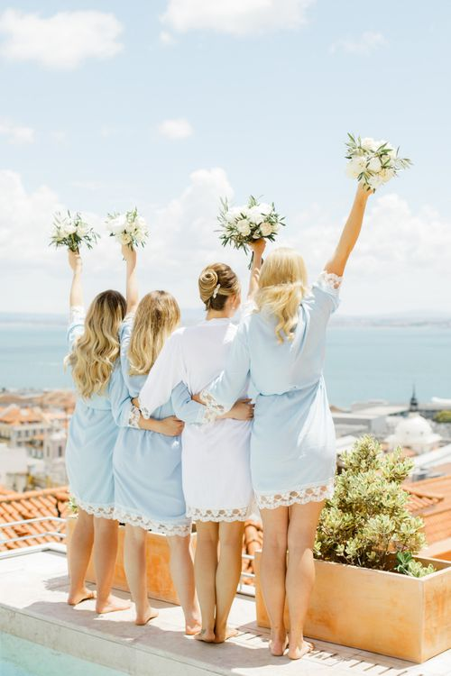 Bridal Party in White and Blue Getting Ready Robes