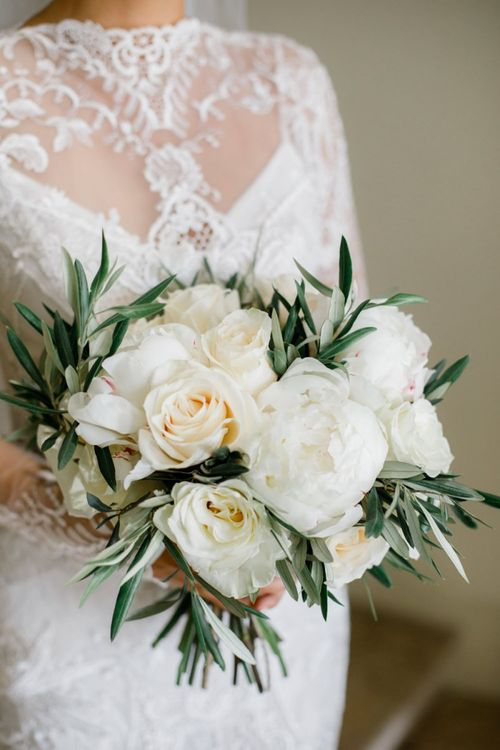 White Rose and Peony Wedding Bouquet with Olive Branches