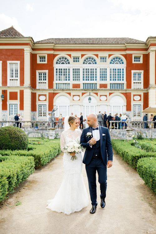 Bride and Groom Standing in Front of their Palácio Fronteira Lisbon Wedding Venue