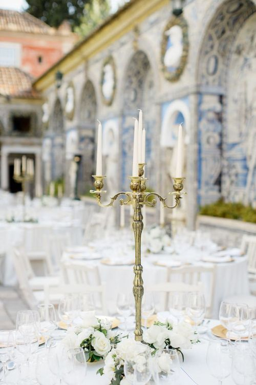 Gold Candelabra Centrepiece with Taper Candles