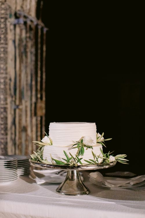 Two Tier Buttercream Wedding Cake Decorated with Olive Branches