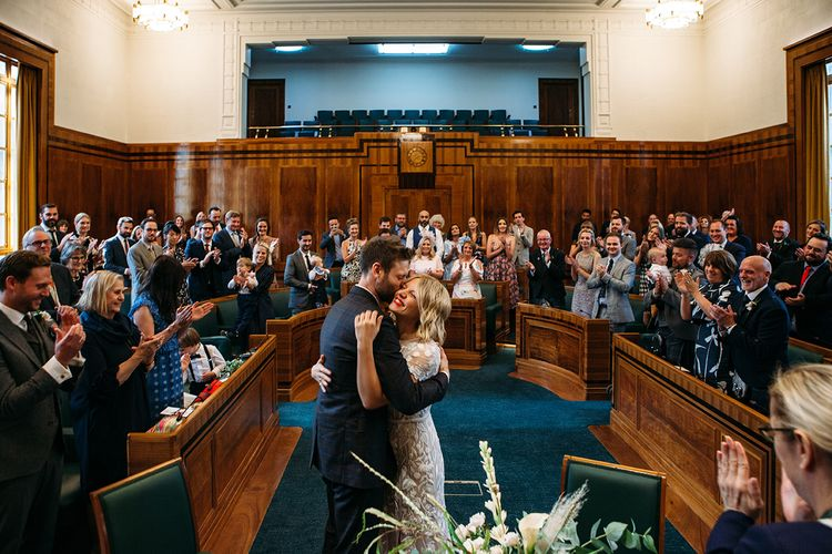 Hackney Town Hall Wedding Ceremony with Bride in Lace Hermione De Paula Wedding Dress and Groom in Ted Baker Suit