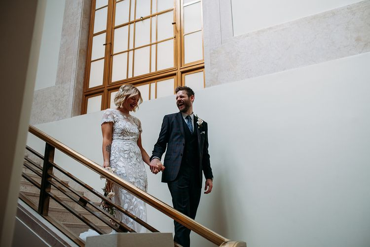 Hackney Town Hall Wedding with Bride in Lace Hermione De Paula Wedding Dress and Groom in Ted Baker Suit