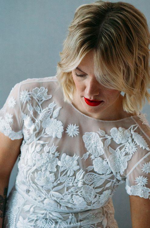 Beautiful Bride in Lace Hermione De Paula Wedding Dress with Red Lipstick