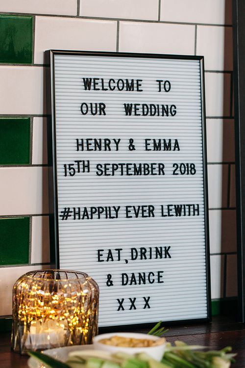 Black and White Peg Board Wedding Sign