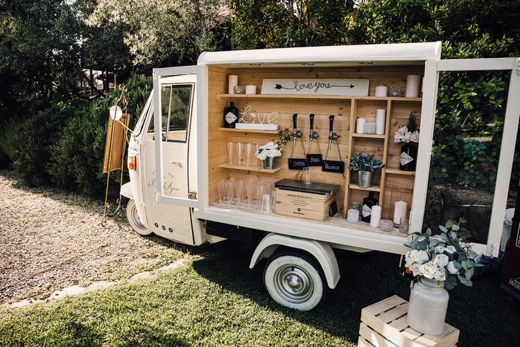 Vintage Ape Wedding Bar  | Stylish Tuscan Wedding at Vignamaggio Planned by The Wedding Boutique Italy | Samuel Docker Photography | Paul Vann Films