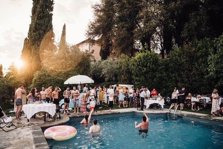 Wedding Eve Pizza & Pool Party | Stylish Tuscan Wedding at Vignamaggio Planned by The Wedding Boutique Italy | Samuel Docker Photography | Paul Vann Films