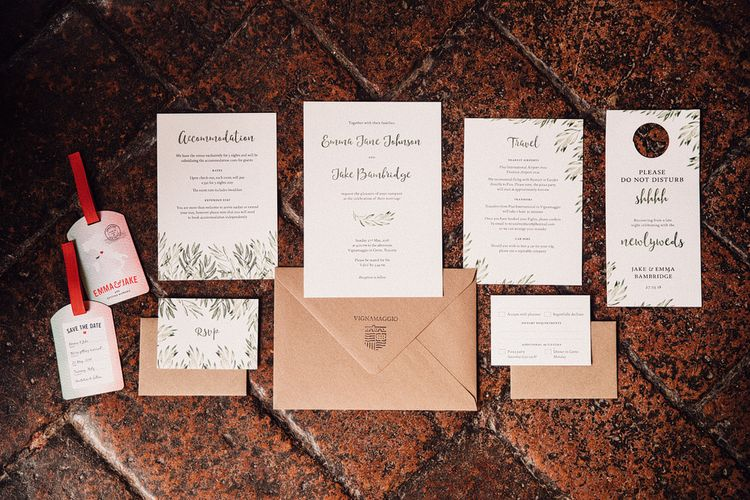 Wedding Stationery Suite | Stylish Tuscan Wedding at Vignamaggio Planned by The Wedding Boutique Italy | Samuel Docker Photography | Paul Vann Films