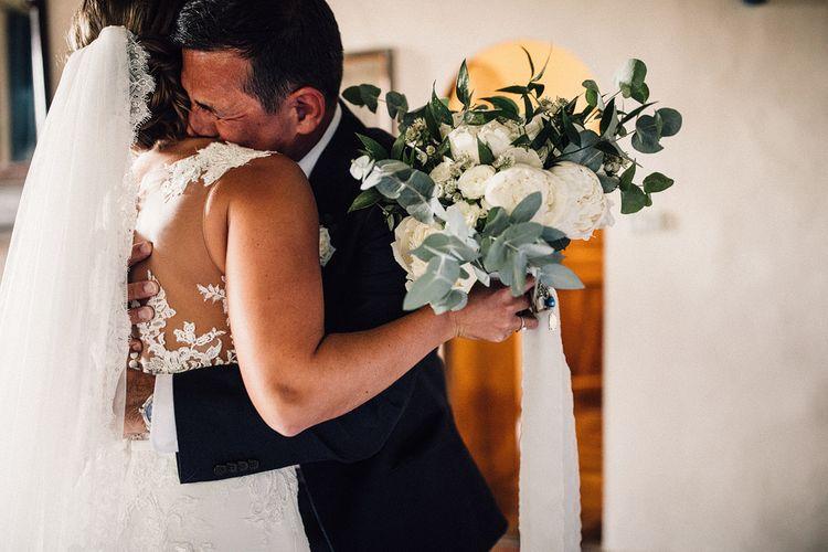 White Peony & Eucalyptus Bridal Bouquet | Stylish Tuscan Wedding at Vignamaggio Planned by The Wedding Boutique Italy | Samuel Docker Photography | Paul Vann Films