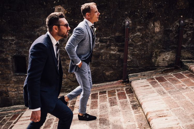 Groom in Light Blue Linen Suit Supply Wedding Suit | Stylish Tuscan Wedding at Vignamaggio Planned by The Wedding Boutique Italy | Samuel Docker Photography | Paul Vann Films