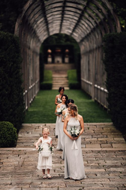 Bridal Party Entrance in Pale Green Wtoo by Watters Gowns | Stylish Tuscan Wedding at Vignamaggio Planned by The Wedding Boutique Italy | Samuel Docker Photography | Paul Vann Films