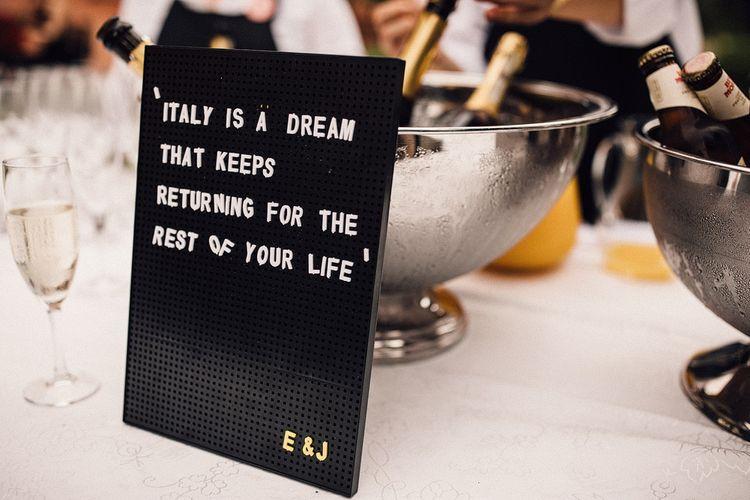 Peg Board Wedding Sign | Stylish Tuscan Wedding at Vignamaggio Planned by The Wedding Boutique Italy | Samuel Docker Photography | Paul Vann Films