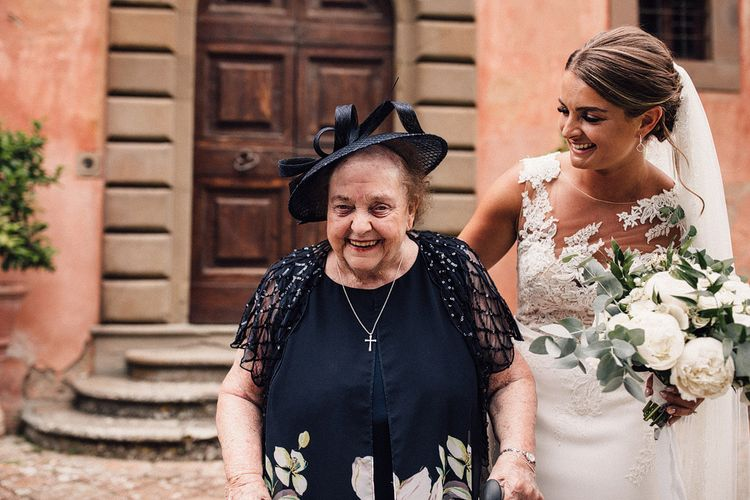 Bride in Lace Pronovias Gown with Her Nan | Stylish Tuscan Wedding at Vignamaggio Planned by The Wedding Boutique Italy | Samuel Docker Photography | Paul Vann Films