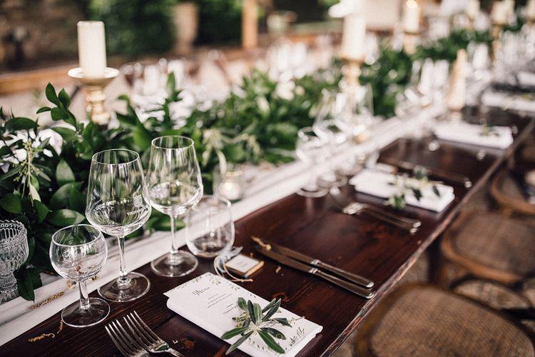 Tablescape Wedding Decor | Stylish Tuscan Wedding at Vignamaggio Planned by The Wedding Boutique Italy | Samuel Docker Photography | Paul Vann Films