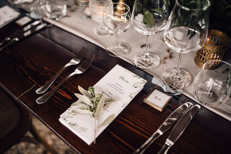 Olive Branch Design Menu Card Wedding Stationery | Stylish Tuscan Wedding at Vignamaggio Planned by The Wedding Boutique Italy | Samuel Docker Photography | Paul Vann Films