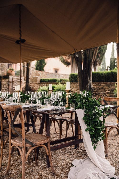 Outdoor Wedding Reception | Greenery Table Runner | Stylish Tuscan Wedding at Vignamaggio Planned by The Wedding Boutique Italy | Samuel Docker Photography | Paul Vann Films