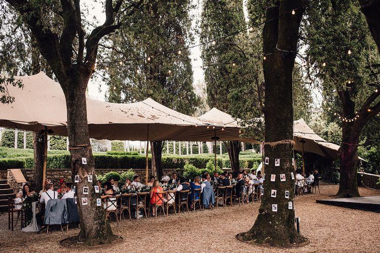 Outdoor Wedding Reception | Stylish Tuscan Wedding at Vignamaggio Planned by The Wedding Boutique Italy | Samuel Docker Photography | Paul Vann Films