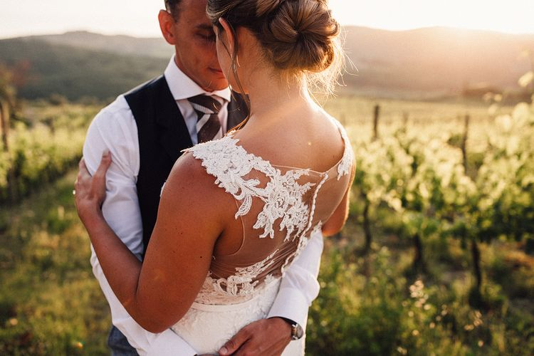 Golden Hour Portrait | Bride in Pronovias Wedding Dress | Groom in Light Blue Suit Supply Suit | Stylish Tuscan Wedding at Vignamaggio Planned by The Wedding Boutique Italy | Samuel Docker Photography | Paul Vann Films