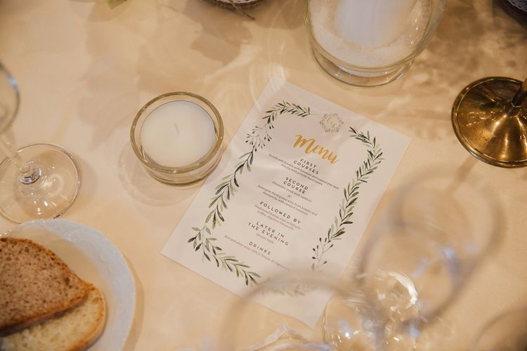 Stationery by White Creative. Destination wedding in Italy. Featuring RMW The List recommended suppliers Wiskow & White and Red on Blonde. Rue de Seine wedding gown with deep red chianti bridesmaid Rewritten dresses.