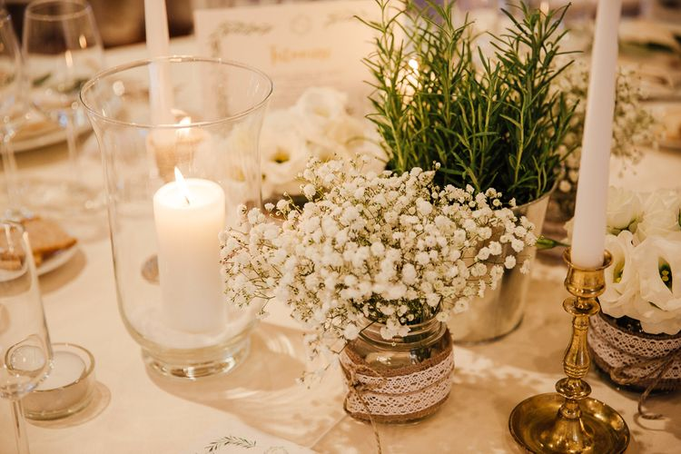 Table Decor, white on white. Destination wedding in Italy. Featuring RMW The List recommended suppliers Wiskow & White and Red on Blonde. Rue de Seine wedding gown with deep red chianti bridesmaid Rewritten dresses.