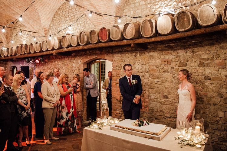 Traditional Italian Millefoglie. Destination wedding in Italy. Featuring RMW The List recommended suppliers Wiskow & White and Red on Blonde. Rue de Seine wedding gown with deep red chianti bridesmaid Rewritten dresses.