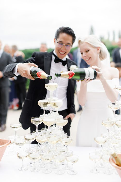 Champagne tower at Froyle Park wedding