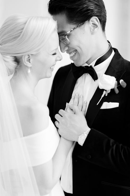 Intimate bride and groom portrait