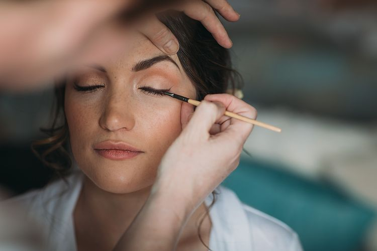 Bridal Make Up With Winged Eye Liner // The Tin Shed At Knockraich Farm Rustic Wedding With Bridesmaids In Maya ASOS Sequin And Tulle Dresses With Images From Jo Donaldson Photography