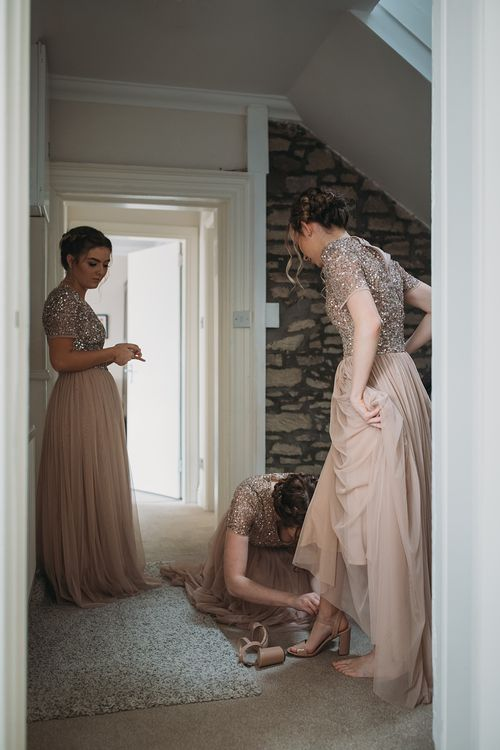 Maya Bridesmaids Dresses From ASOS // The Tin Shed At Knockraich Farm Rustic Wedding With Bridesmaids In Maya ASOS Sequin And Tulle Dresses With Images From Jo Donaldson Photography