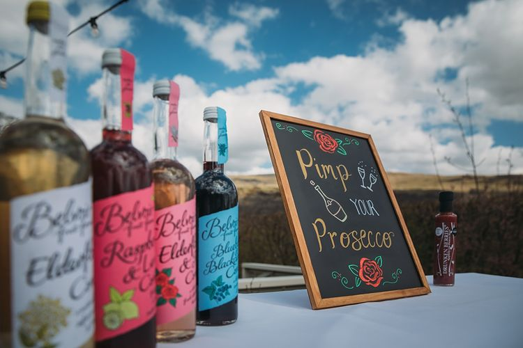 Pimp Your Prosecco Stand For Wedding // The Tin Shed At Knockraich Farm Rustic Wedding With Bridesmaids In Maya ASOS Sequin And Tulle Dresses With Images From Jo Donaldson Photography