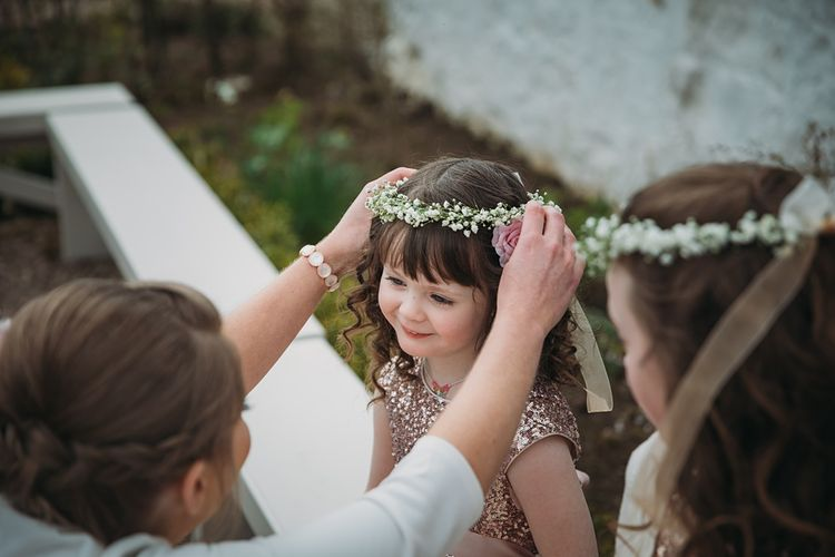 Flower Girls With Gypsophila Crown // The Tin Shed At Knockraich Farm Rustic Wedding With Bridesmaids In Maya ASOS Sequin And Tulle Dresses With Images From Jo Donaldson Photography