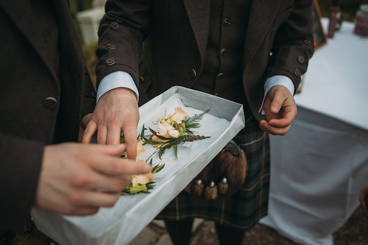 Peach Rose Buttonhole // The Tin Shed At Knockraich Farm Rustic Wedding With Bridesmaids In Maya ASOS Sequin And Tulle Dresses With Images From Jo Donaldson Photography