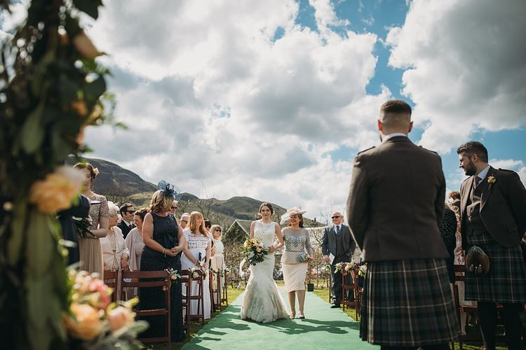 Outdoor Humanist Wedding Ceremony //  The Tin Shed At Knockraich Farm Rustic Wedding With Bridesmaids In Maya ASOS Sequin And Tulle Dresses With Images From Jo Donaldson Photography
