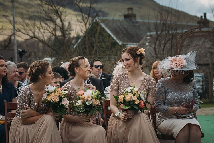 Bridesmaids In Maya Sequin And Tulle Dresses ASOS // The Tin Shed At Knockraich Farm Rustic Wedding With Bridesmaids In Maya ASOS Sequin And Tulle Dresses With Images From Jo Donaldson Photography