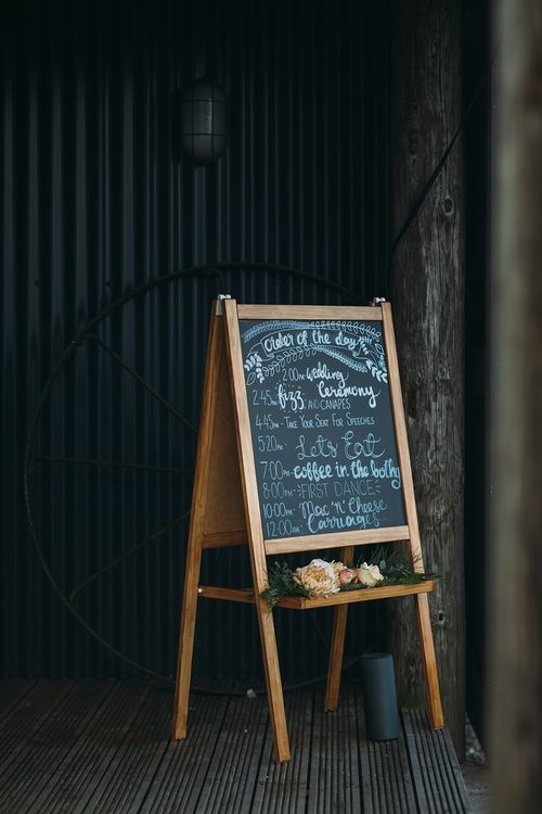Chalkboard Wedding Sign // The Tin Shed At Knockraich Farm Rustic Wedding With Bridesmaids In Maya ASOS Sequin And Tulle Dresses With Images From Jo Donaldson Photography