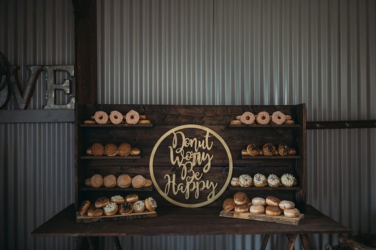 Donut Wall For Wedding // The Tin Shed At Knockraich Farm Rustic Wedding With Bridesmaids In Maya ASOS Sequin And Tulle Dresses With Images From Jo Donaldson Photography