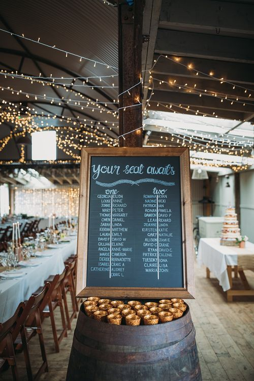 Chalkboard Table Plan For Wedding // The Tin Shed At Knockraich Farm Rustic Wedding With Bridesmaids In Maya ASOS Sequin And Tulle Dresses With Images From Jo Donaldson Photography