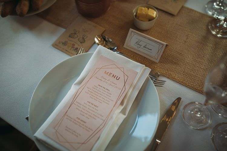 Pink Wedding Stationery // The Tin Shed At Knockraich Farm Rustic Wedding With Bridesmaids In Maya ASOS Sequin And Tulle Dresses With Images From Jo Donaldson Photography