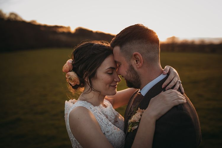 Golden Hour Couple Portraits // The Tin Shed At Knockraich Farm Rustic Wedding With Bridesmaids In Maya ASOS Sequin And Tulle Dresses With Images From Jo Donaldson Photography