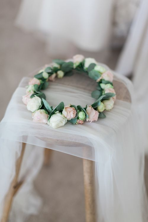 Pink 7 White Rose Flower Crown | Pink ASOS Bridesmaid Dresses | Pink & White At Home Marquee Wedding by Pretty Creative Styling | Jo Bradbury Photography