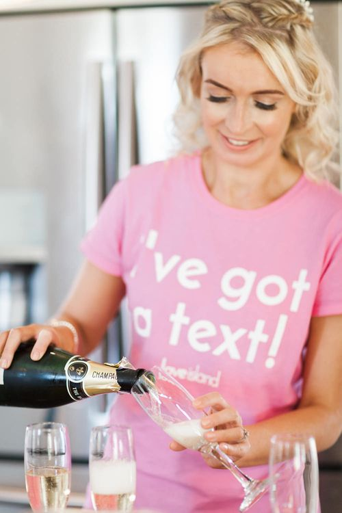 I've Got a Text Pink T-Shirt | Wedding Morning | Pink ASOS Bridesmaid Dresses | Pink & White At Home Marquee Wedding by Pretty Creative Styling | Jo Bradbury Photography