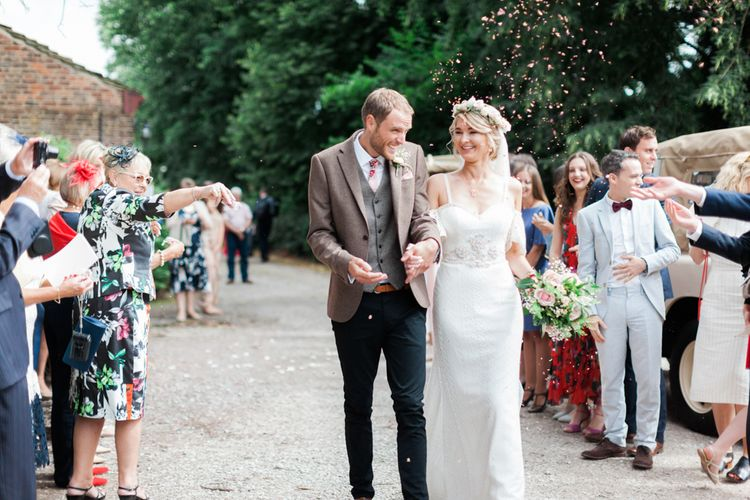 Bride in Bespoke Felicity Cooper Bridal Gown | Groom in Tween Waistcoat & Blazer | Pink ASOS Bridesmaid Dresses | Pink & White At Home Marquee Wedding by Pretty Creative Styling | Jo Bradbury Photography